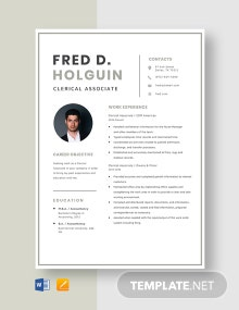 Clerical Associate Resume Template