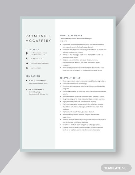 Clerical Receptionist Resume Template