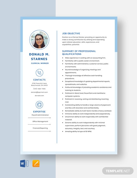 Clerical Worker Resume Template