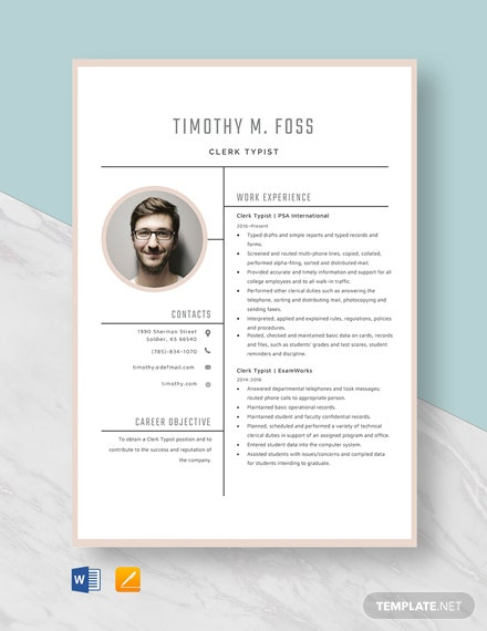 Clerk Typist Resume Template