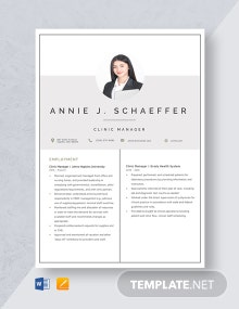 Clinic Manager Resume Template