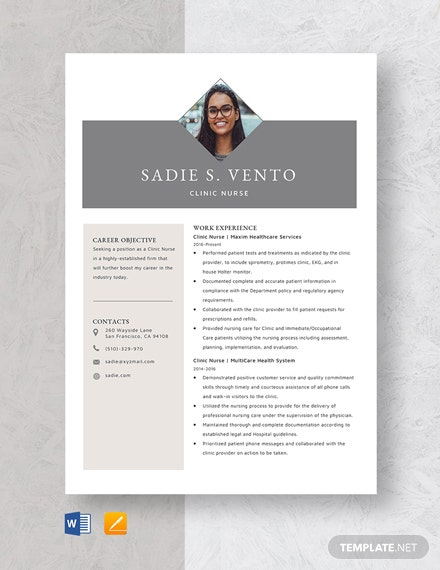 Clinic Nurse Resume Template