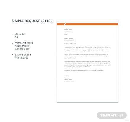 free simple request letter template