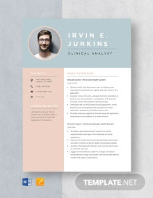Clinical Analyst Resume Template