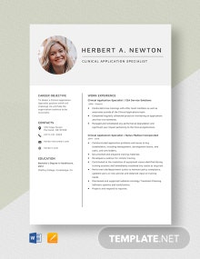 Clinical Application Specialist Resume Template