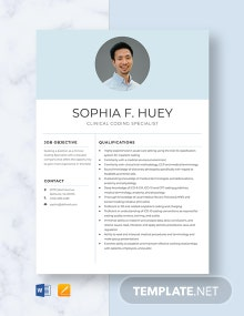 Clinical Coding specialist Resume Template