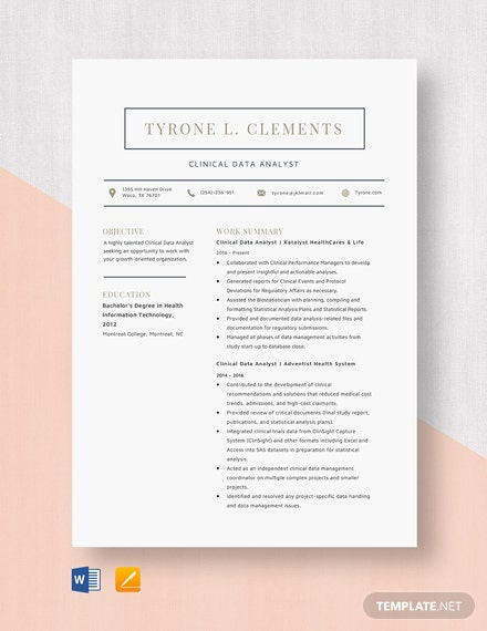 Clinical Data Analyst Resume Template