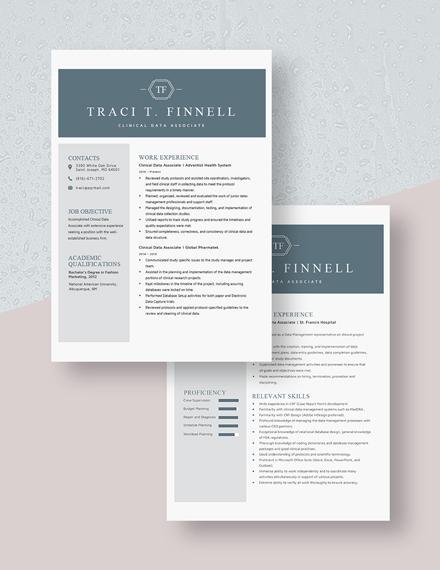 Clinical Data Associate Resume Download