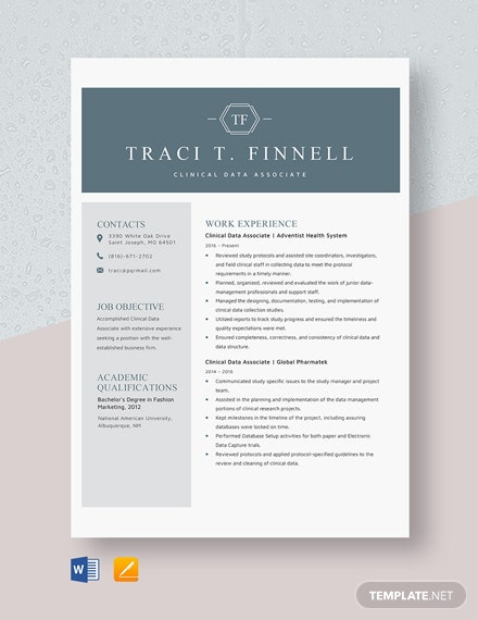 Clinical Data Associate Resume Template