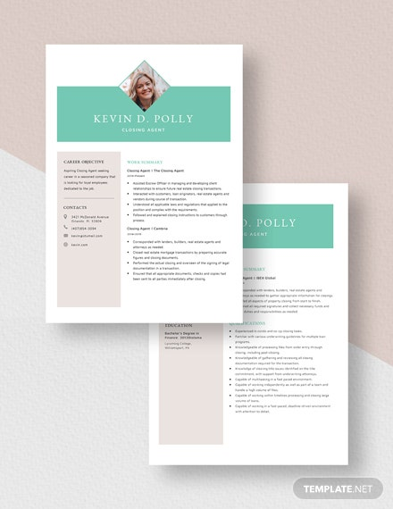 Closing Agent Resume Download