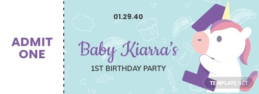 1st Birthday Ticket Template