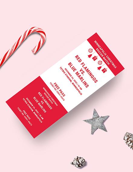 Sample Christmas Soccer Gift Ticket