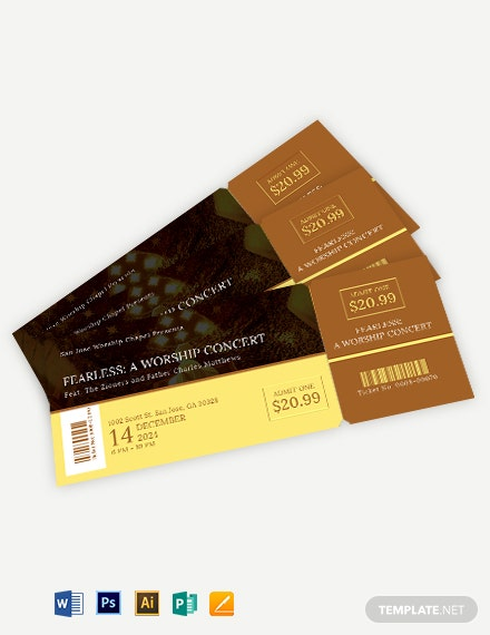 Church Worship Ticket Template