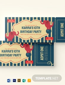 Circus Birthday Ticket Template