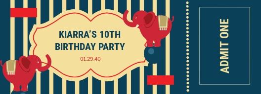 Circus Birthday Ticket Template