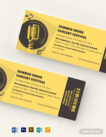 Concert Festival Ticket Template