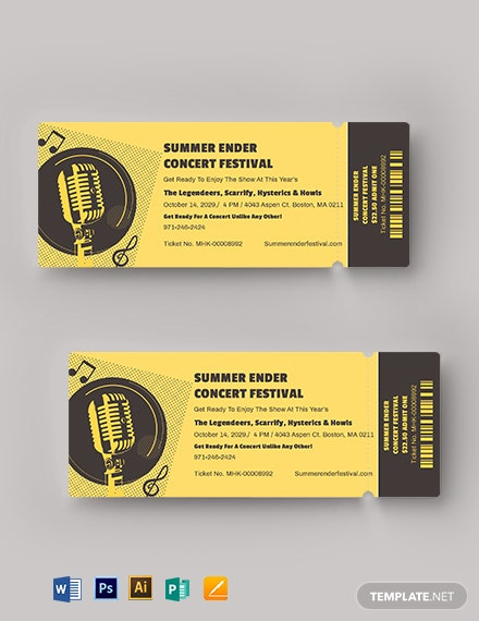 Concert Festival Ticket Template
