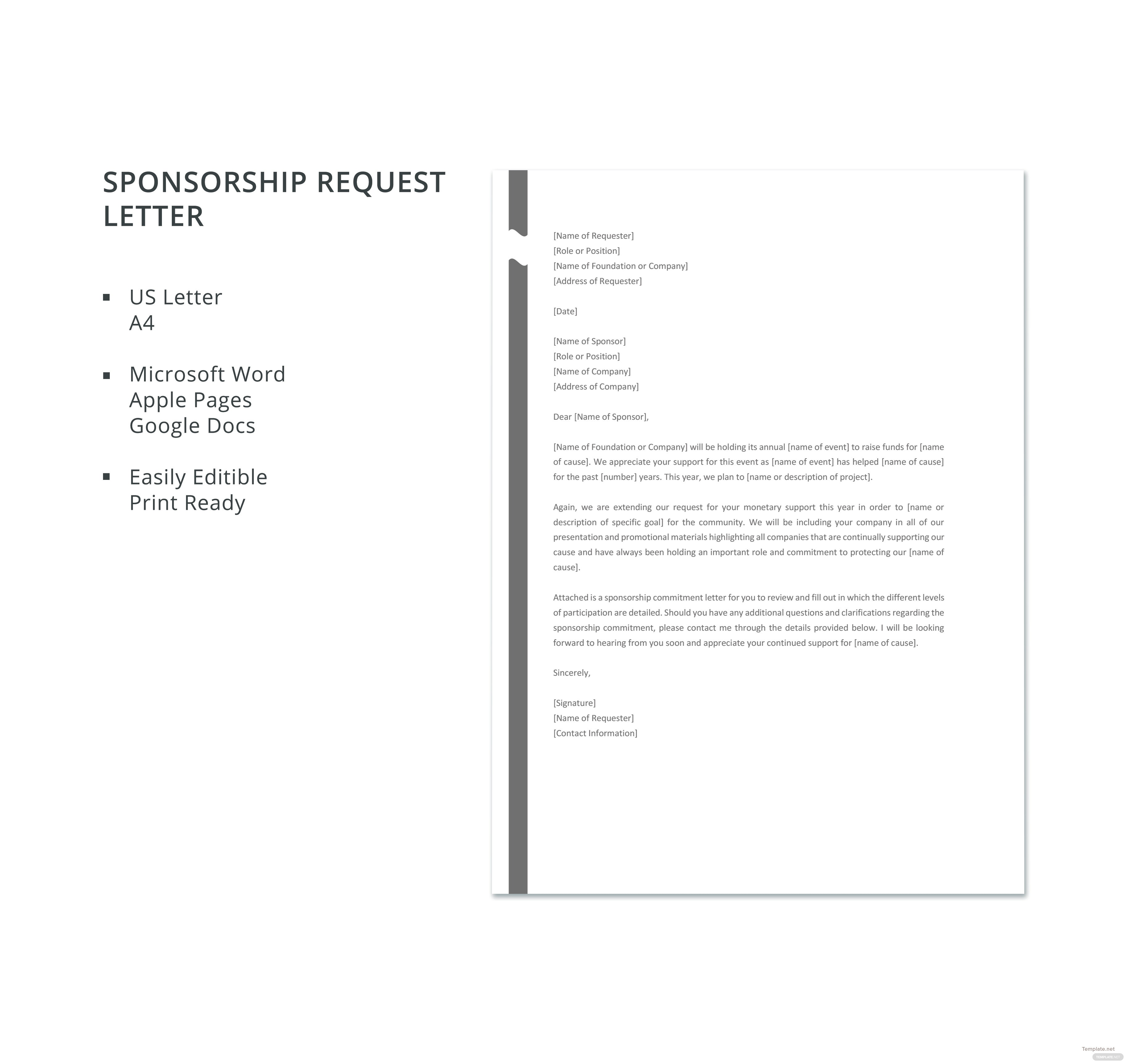 Free Sponsorship Request Letter Template In Microsoft Word Apple
