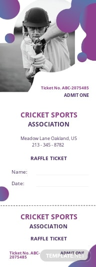Cricket Raffle Ticket Template