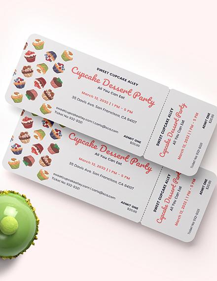 Cupcake Event Food Ticket Download