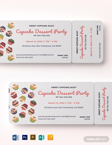 Cupcake Event Food Ticket Template