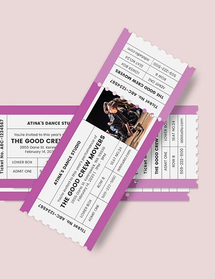 Dance Admission Ticket Download