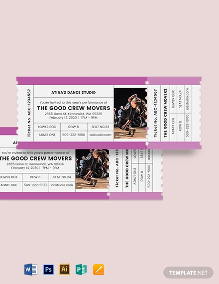 Dance Admission Ticket Template