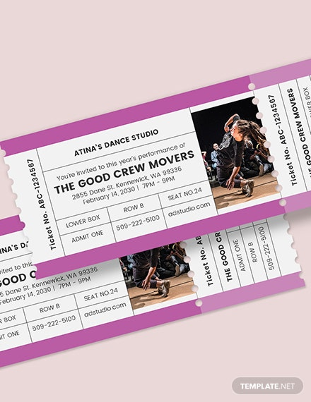 Sample Dance Admission Ticket