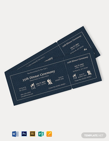 Dinner Dance Ticket Template