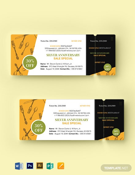 Dinner Sale Ticket Template