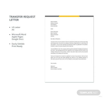 Free Transfer Request Letter Template