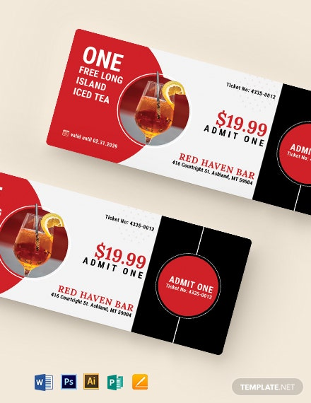 Editable Drink Ticket Template