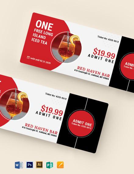 Editable Drink Ticket Template
