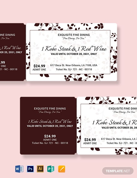 Elegant Food Ticket Template