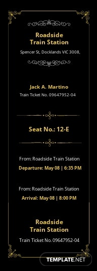 Elegant Train Ticket Template