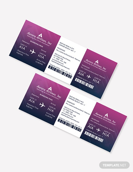 Sample Elegant Travel Ticket