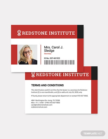 Sample Horizontal ID Card