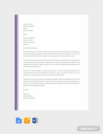FREE Transfer Request Letter from One Branch to Another