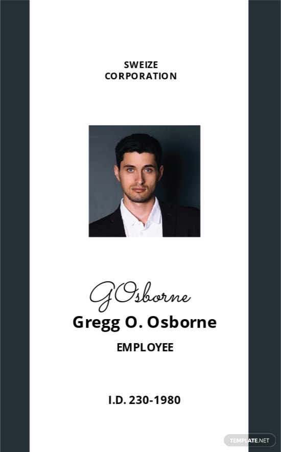 ID Card Format Template