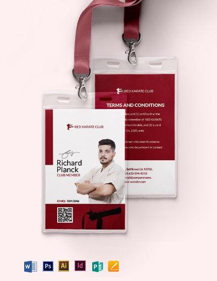 Karate Club ID Card Template