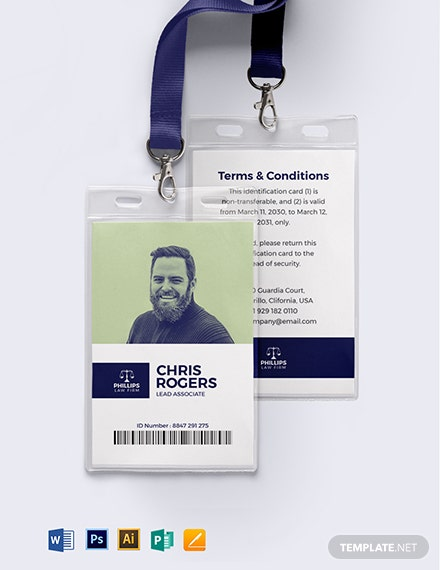 Legal Investigation ID Card Template