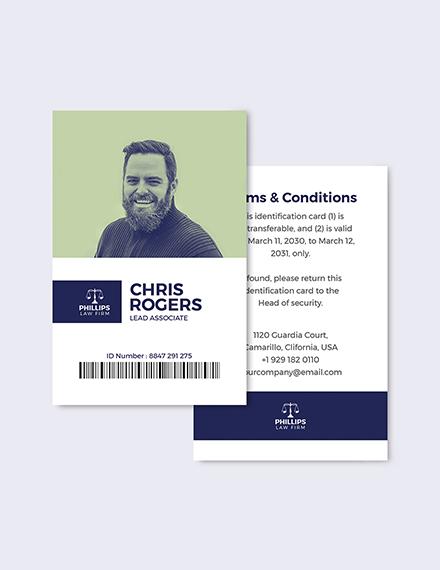 Sample Legal Investigation ID Card