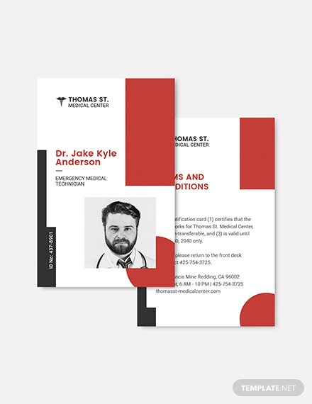 Sample Medical Responder ID Card