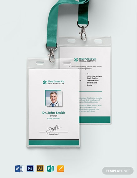 Hospital Staff Id Card Template Word Psd Apple Pages