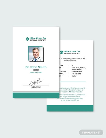 Sample Medical Staff ID Card