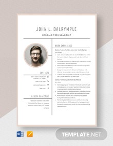 Cardiac Technologist Resume Template