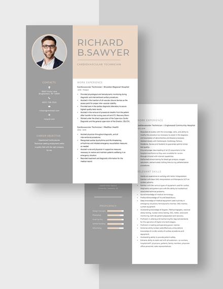 Cardiovascular Technician Resume Download