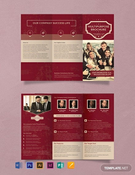 Free Retro Multipurpose Trifold Brochure Template