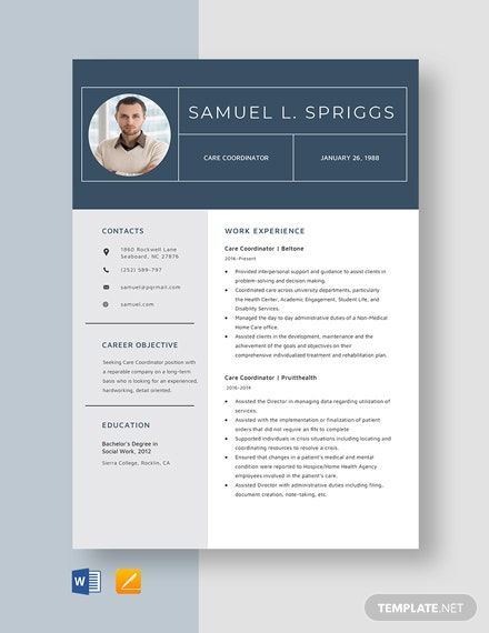 Care Coordinator Resume Template