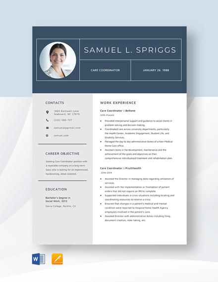 Care Coordinator Resume Template